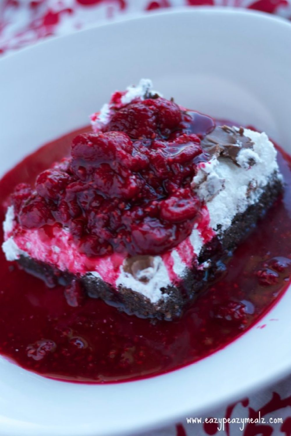 raspberry compote covered double chocolate brownies