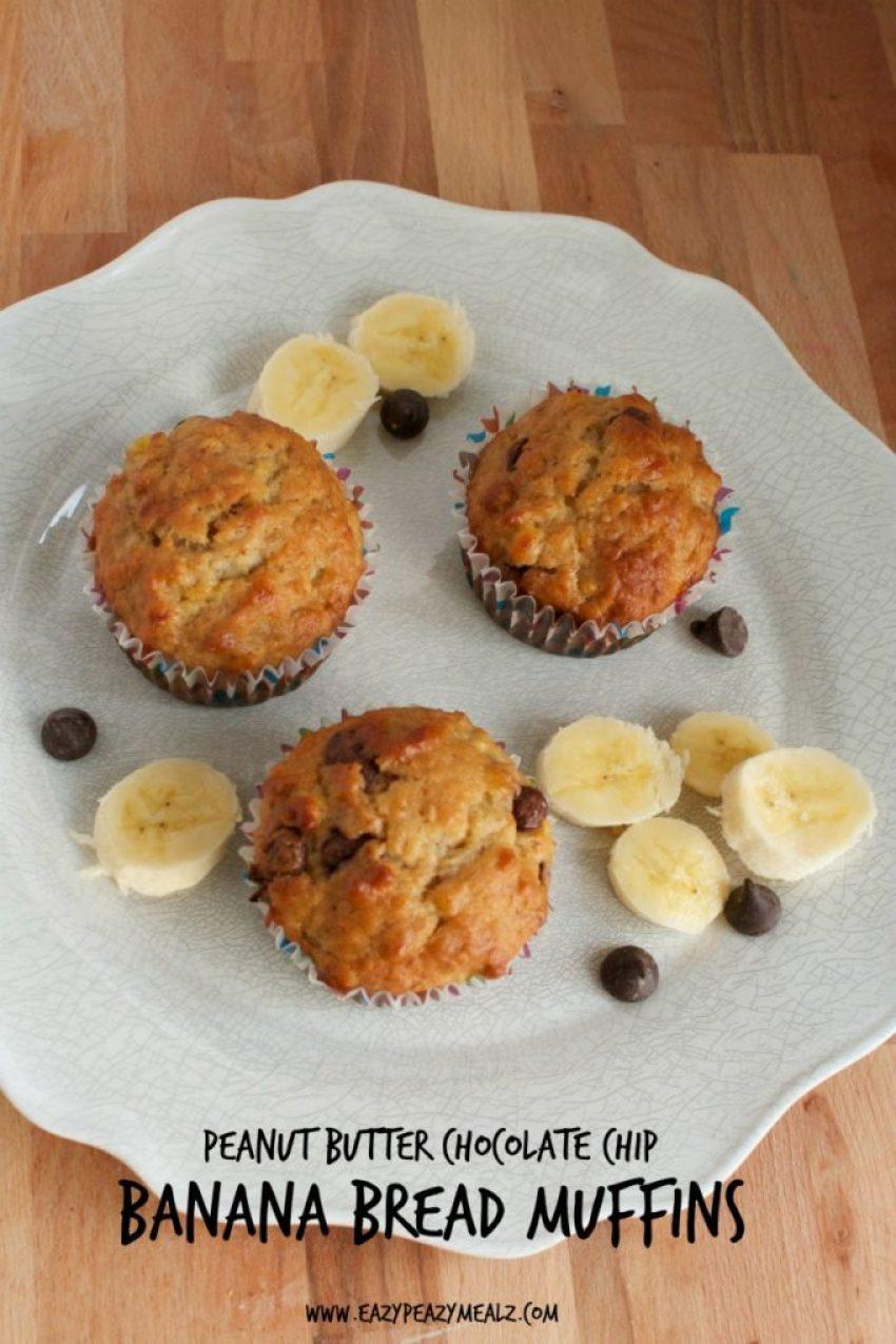 PB choco chip banana bread muffins