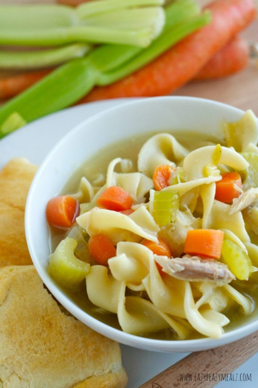 harvest veg chicken noodle soup with rotisserie chicken