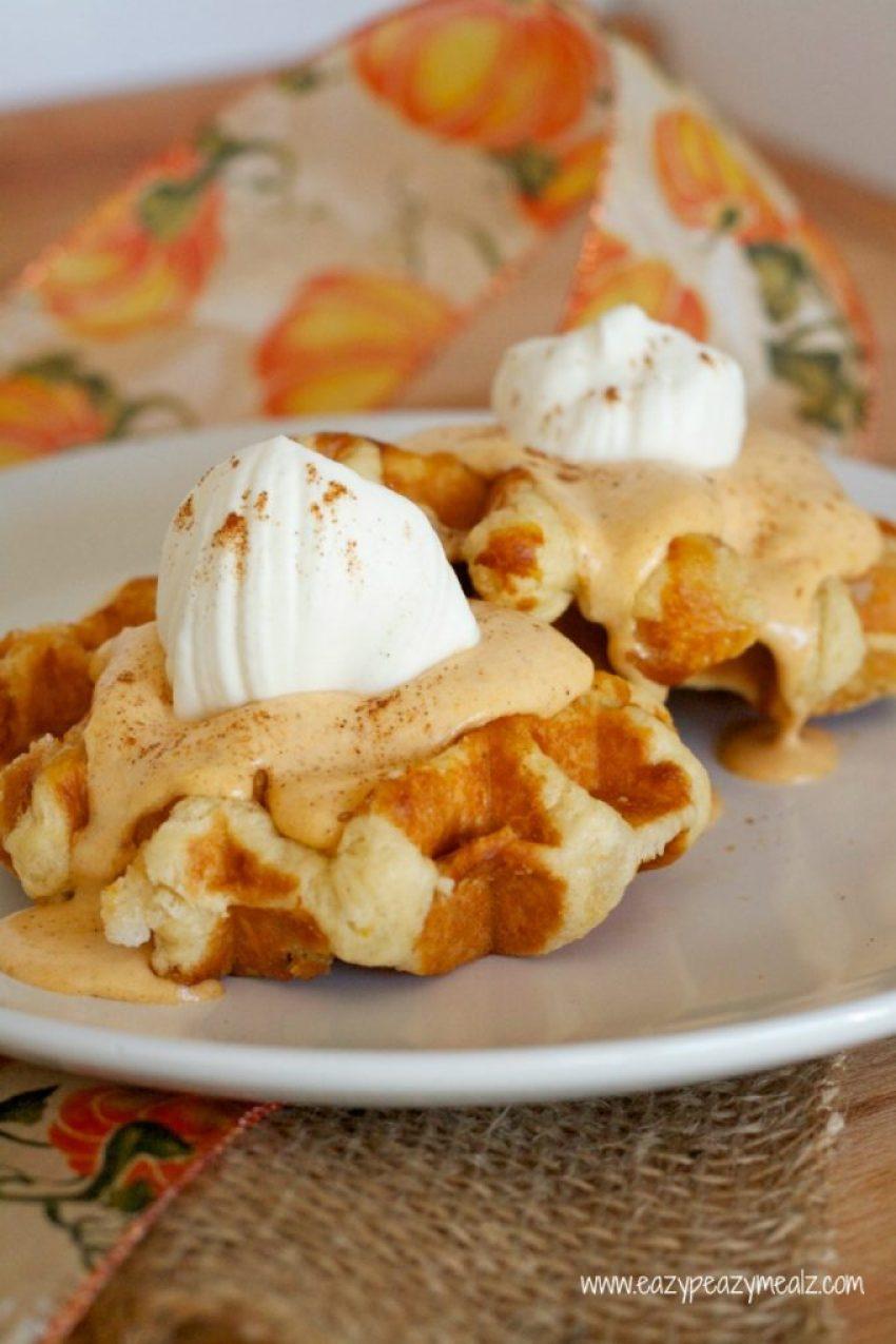 pumpkin pie topped waffles