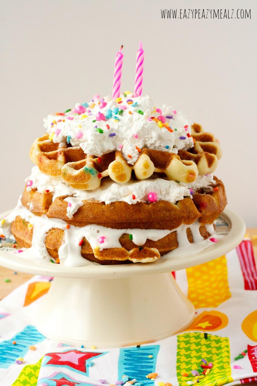 birthday waffle cake