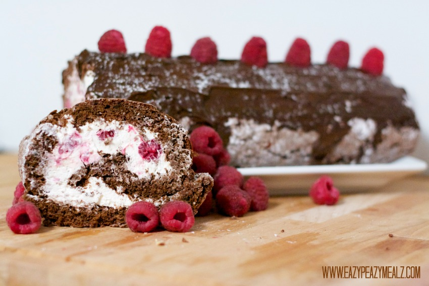 chocolate cake roll with raspberries