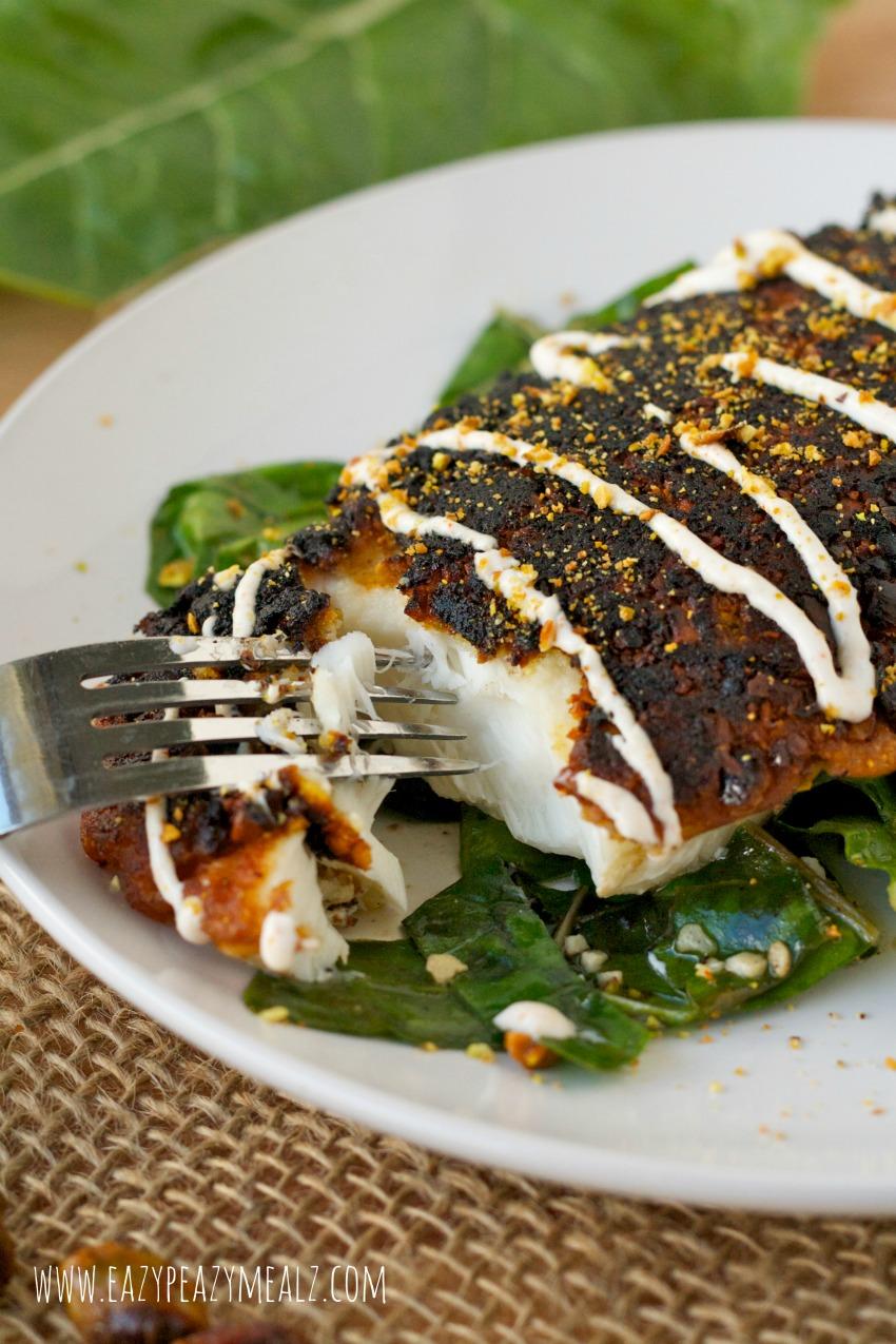 flaky pistachio halibut