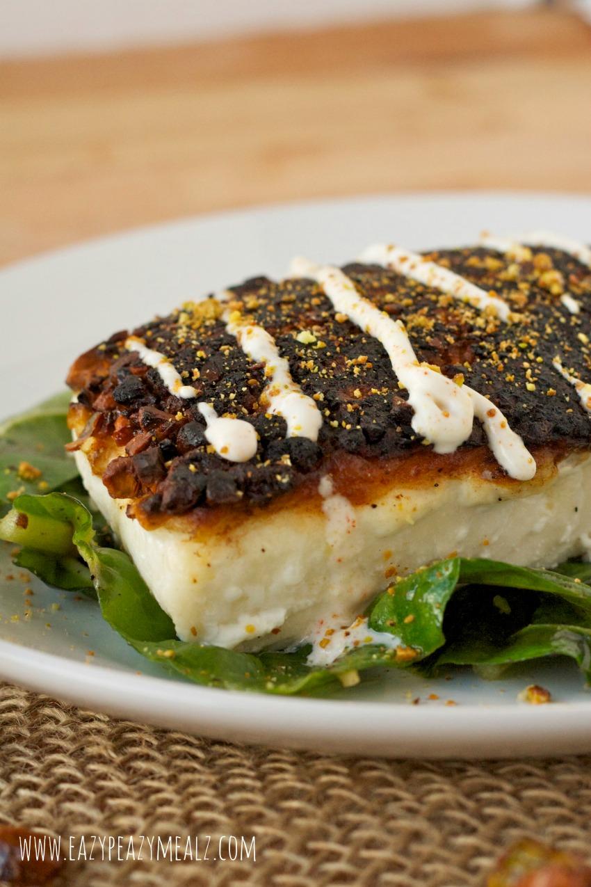 pistachio halibut