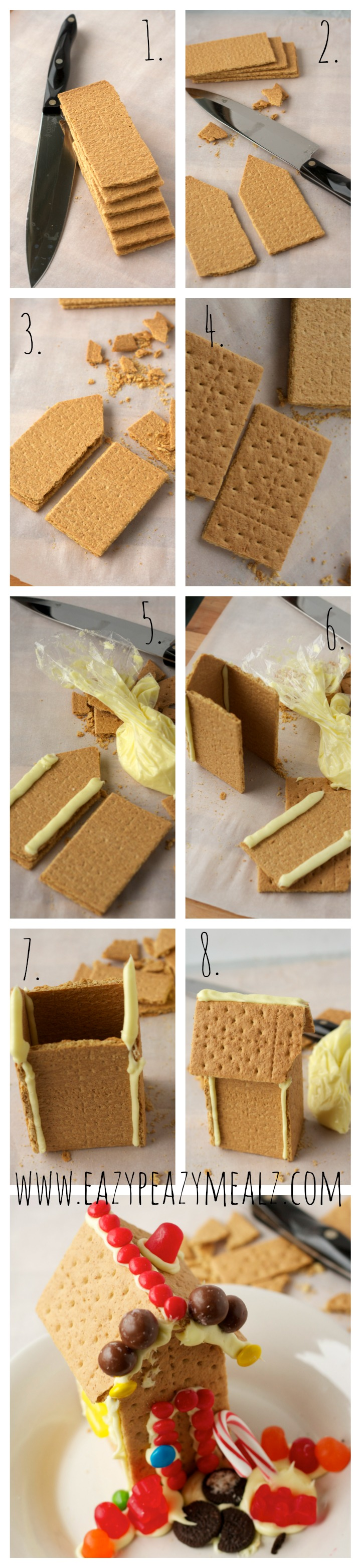 How to make graham cracker houses step by step tutorial