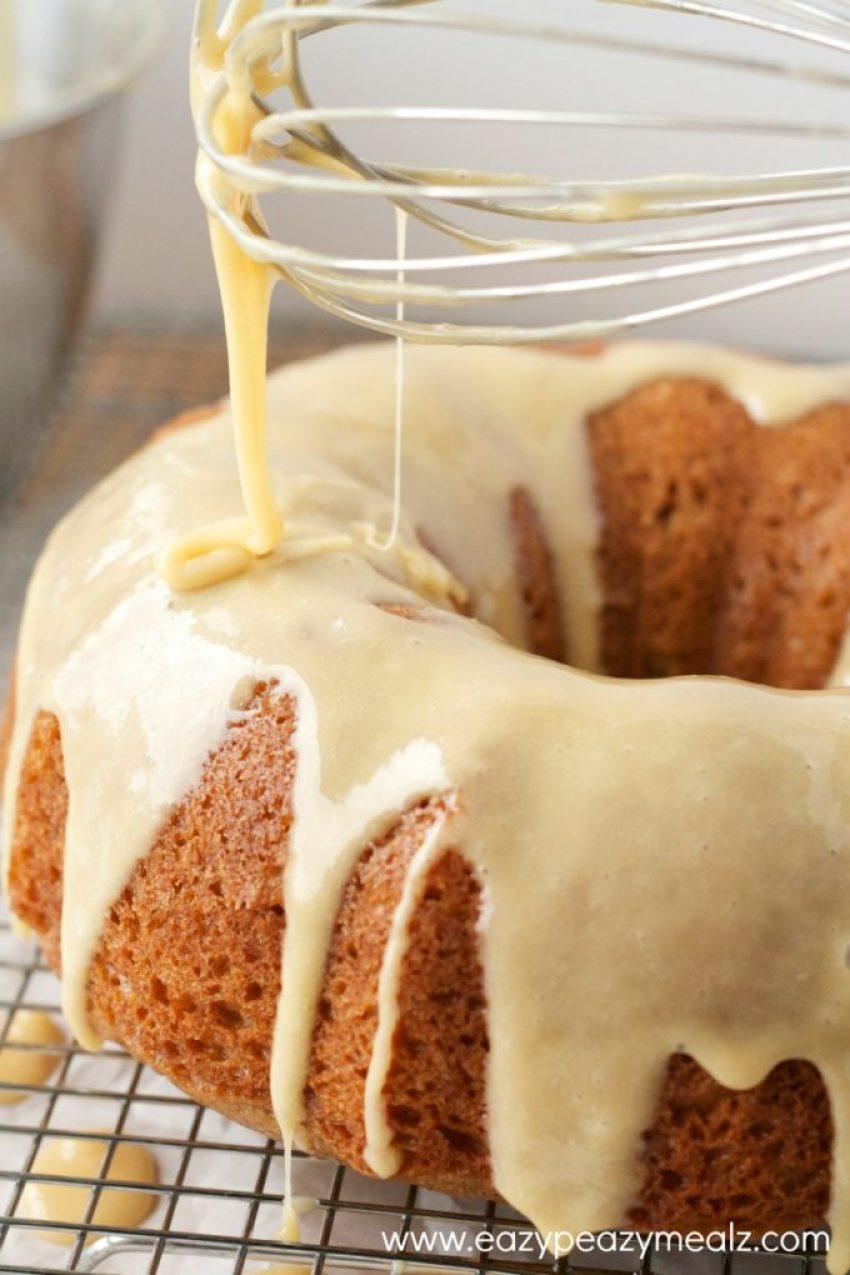 caramel egg nog glazed mayo cake