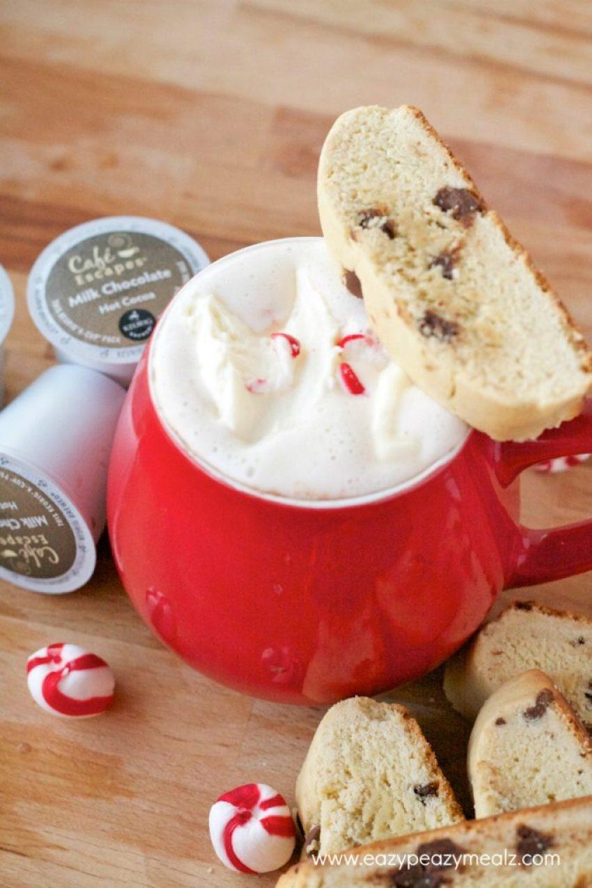 mug of keurig chocolate chip cookie biscotti