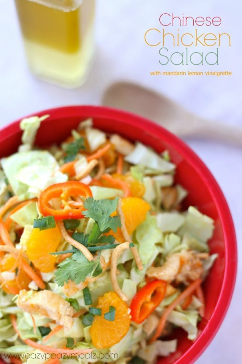 Chinese chicken salad with mandarin lemon vinaigrette dressing