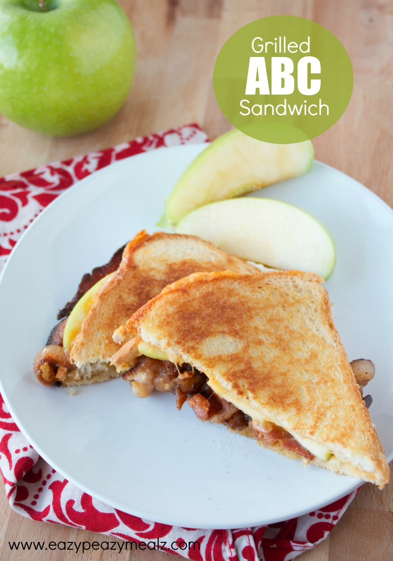 Grilled ABC apple, bacon, cheese sandwich, an easy lunch or dinner, grilled cheese for adults