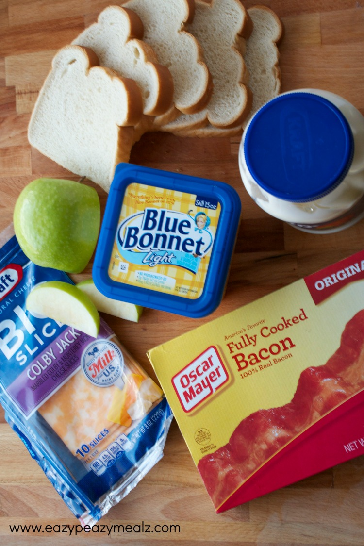 ingredients for ABC grilled cheese sandwich, apples, bacon, cheddar cheese sandwich