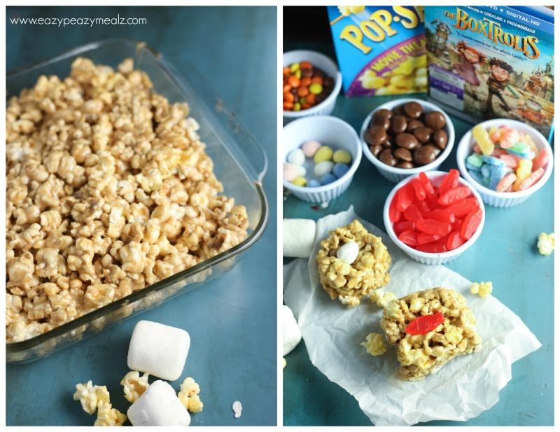 process making box trolls with caramel popcorn
