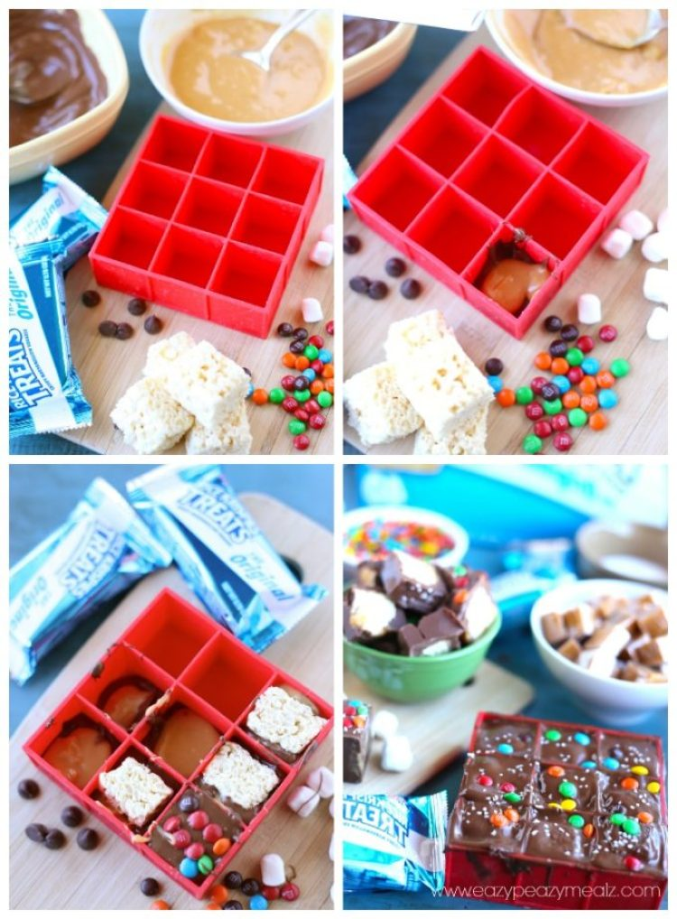 making candy bar bites, kellogg's rice krispies candy bar bites, a fun and easy dessert or snack