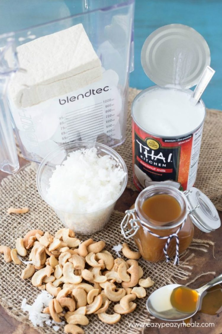 caramel cashew coconut smoothie ingredients