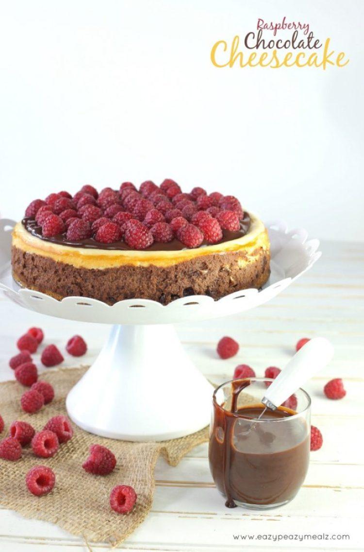 chocolate ganache and raspberry chocolate cheesecake