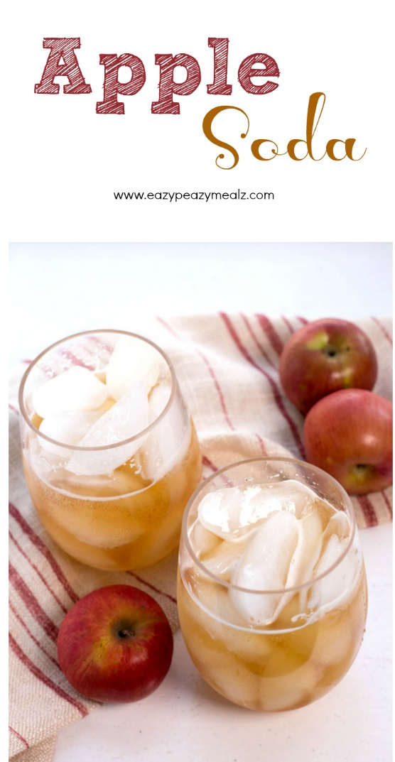 Homemade apple soda, for a tart, sweet, and fizzy treat!