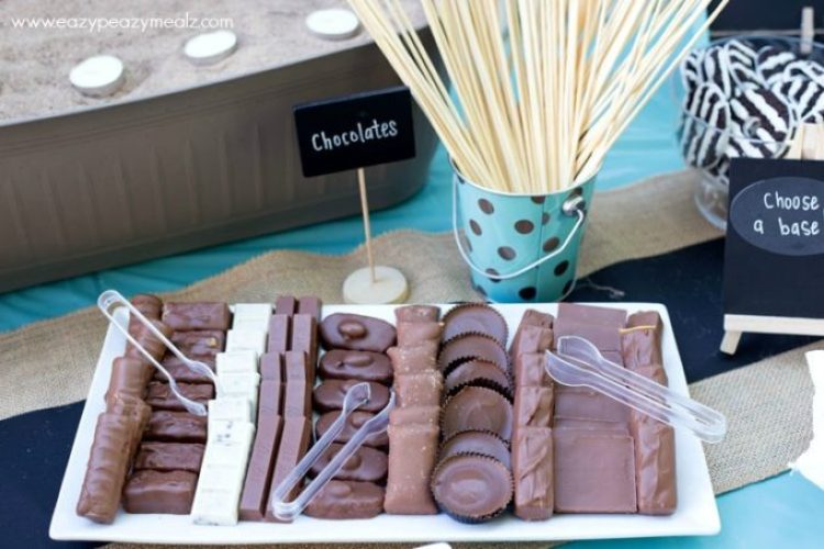 Smores bar with a variety of chocolates
