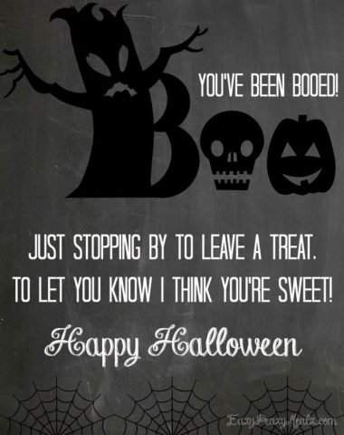 Boo bark printable gift card