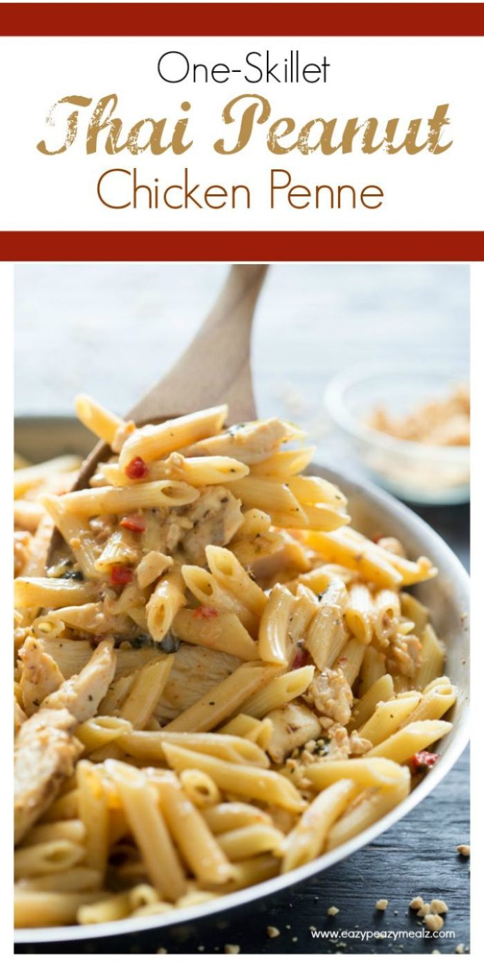 Thai peanut skillet pasta is a one pot meal that is fantastic.
