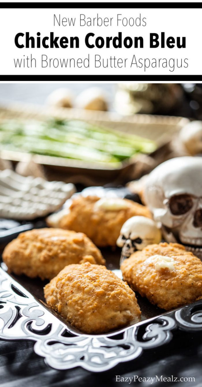 Chicken Cordon Bleu and browned butter asparagus make a great spooky Halloween dinner. Recipe plus full party details.