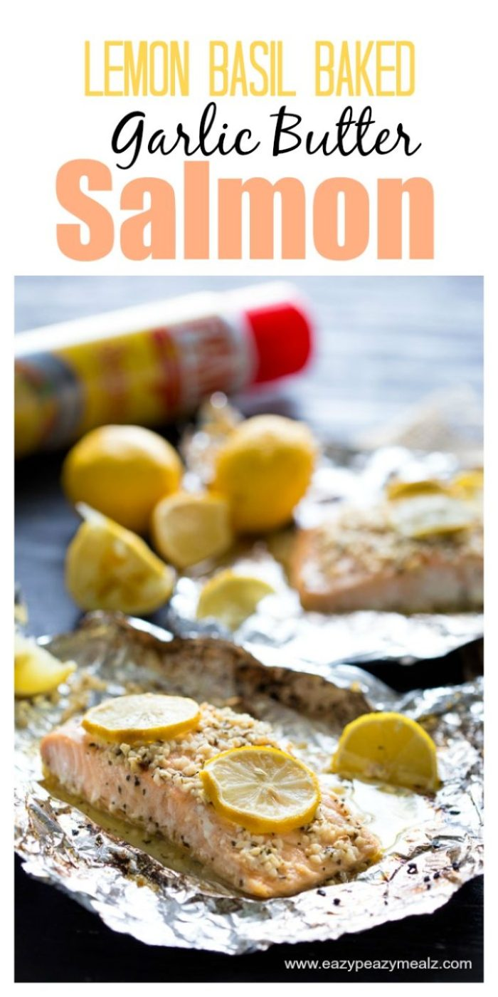 Lemon Basil Baked Garlic Butter Salmon is SOOOO easy to make, and tastes amazing. #ad