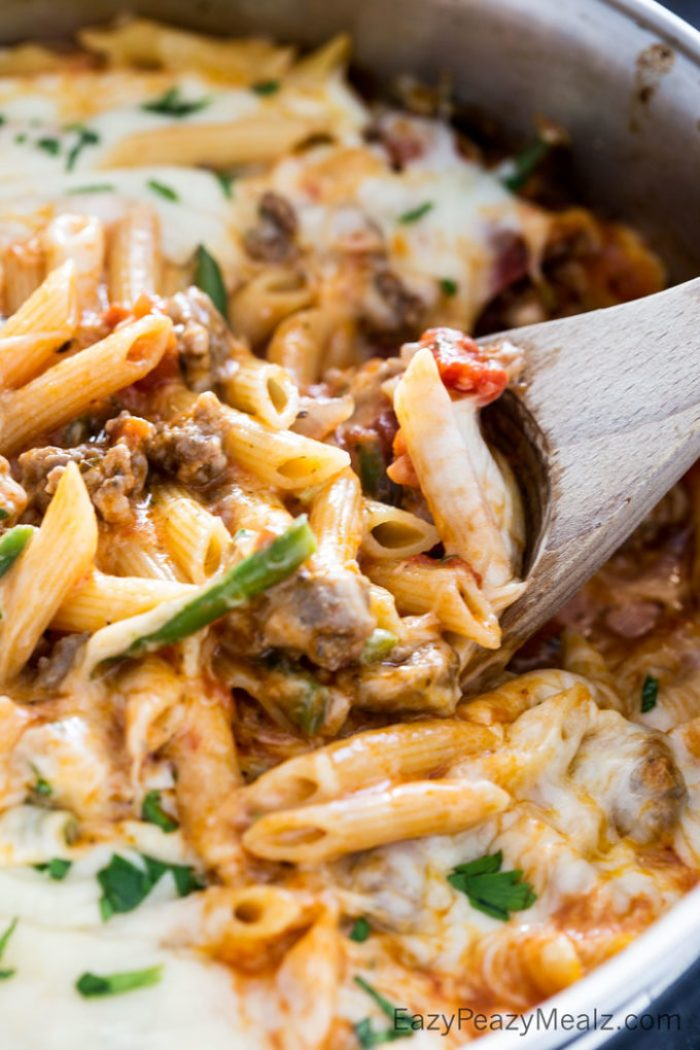 Meaty, cheesy, flavorful skillet pasta made in just one pot in under 20 minutes!