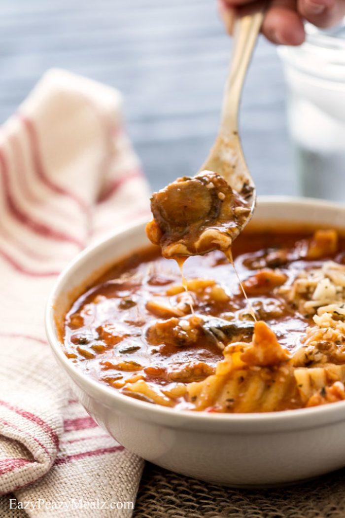 chicken-sausage-lasagna-soup