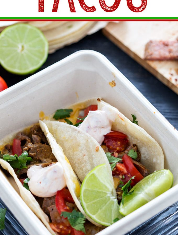Use leftover flank steak to make amazing and easy tacos, with a to die for harissa lime sour cream!