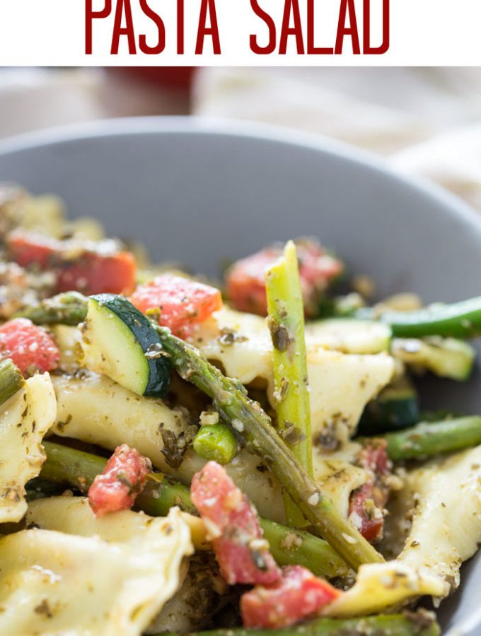 Asparagus Ravioli Pasta Salad is a delicious and fresh pasta salad that can served hot or cold; as a main dish or a side! A great recipe to keep in your entertaining arsenal.