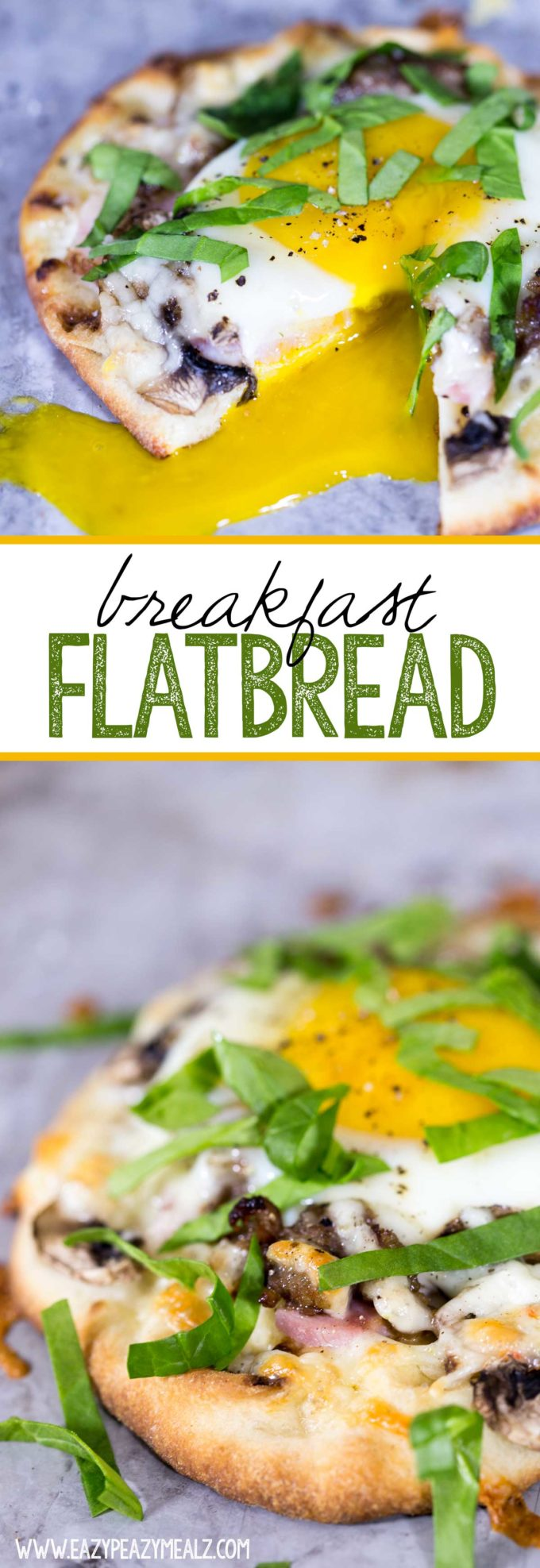 Breakfast flatbread: Mini Naan topped with breakfast meats, veggies, and cheese, with a creamy, runny yolk egg nestled in the center. Delicious!