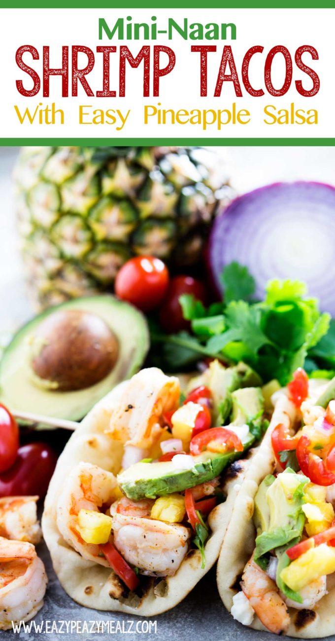 shrimp tacos, a delicious seafood dinner recipe, mini-naan shrimp tacos