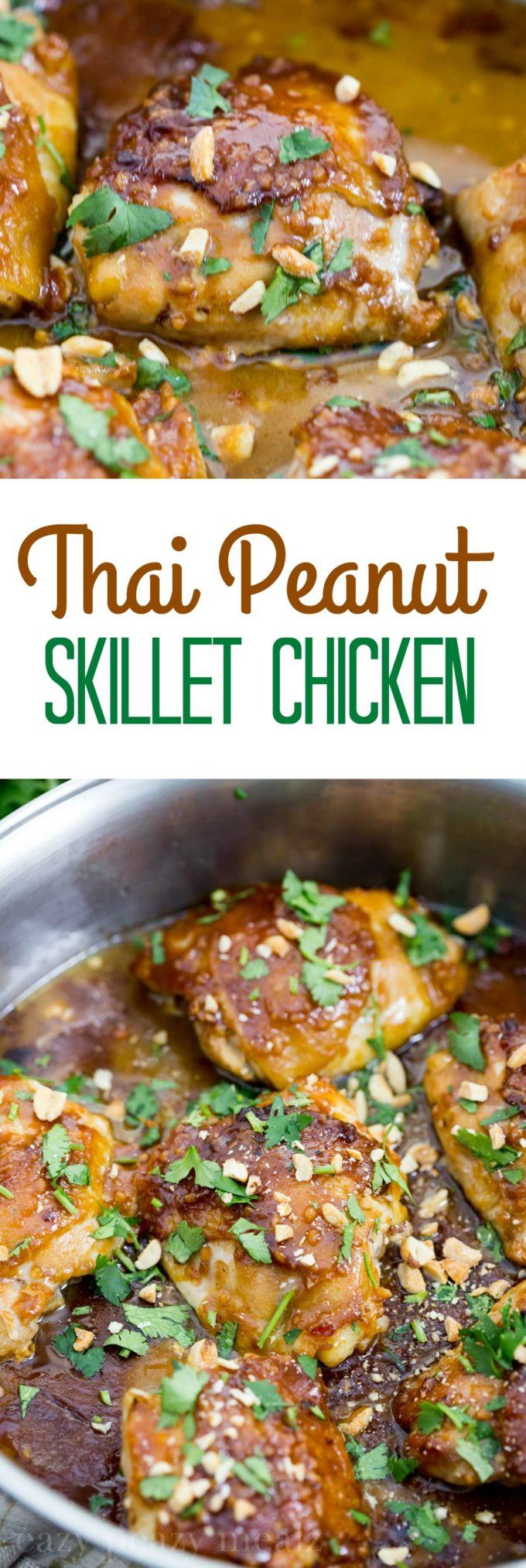 Thai Peanut skillet chicken, an easy one pot chicken that tastes great and bakes up to perfection. Mmmm