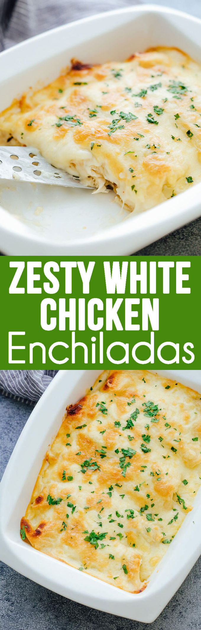Zesty White Chicken Enchiladas, delicious and easy enchiladas.