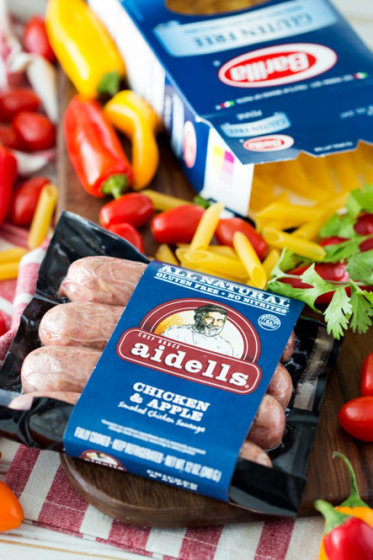 Ingredients for creamy jalapeno chicken sausage pasta gluten free