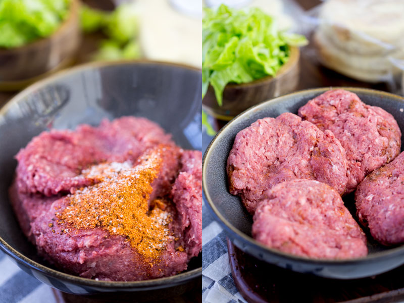 ground beef with seasoning for the burgers