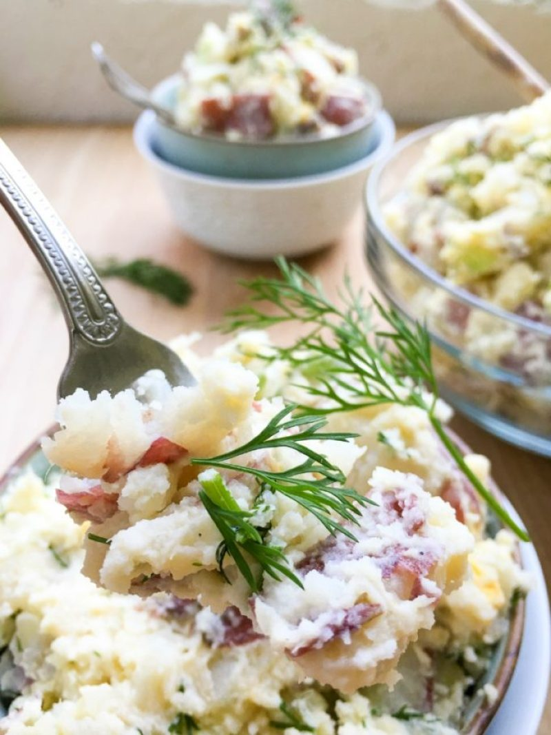 Red Bliss Potato Salad Dill: Crisp celery, onion, Dijon mustard, eggs, and fresh dill gives it a satisfying crunch and flavor and enough to feed a hungry crowd.