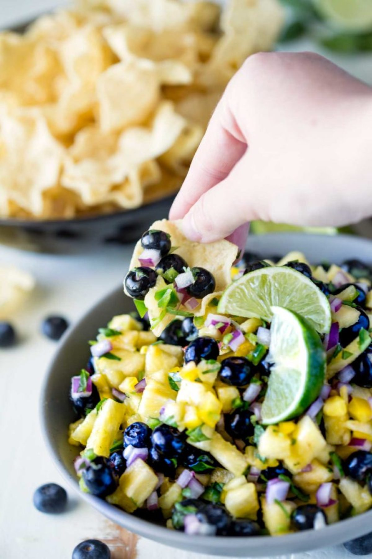 Chips and blueberry pineapple fruit salsa