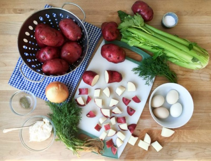 Ingredients for Red Bliss Potato Salad with Dill 800x608