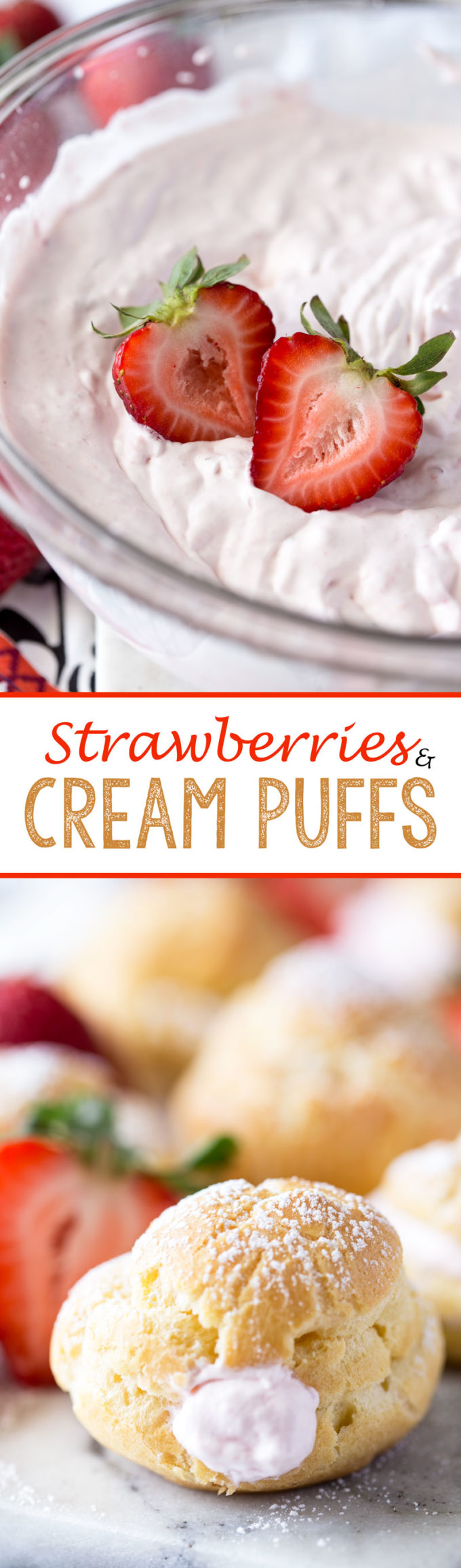 I could barely wait for the puffs to cool, I wanted to gobble them down! Strawberries and Cream Puffs!