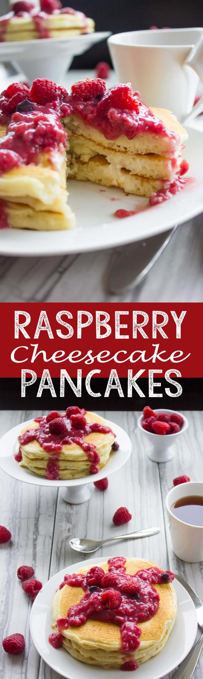Raspberry Cheesecake Pancakes are the perfect breakfast option