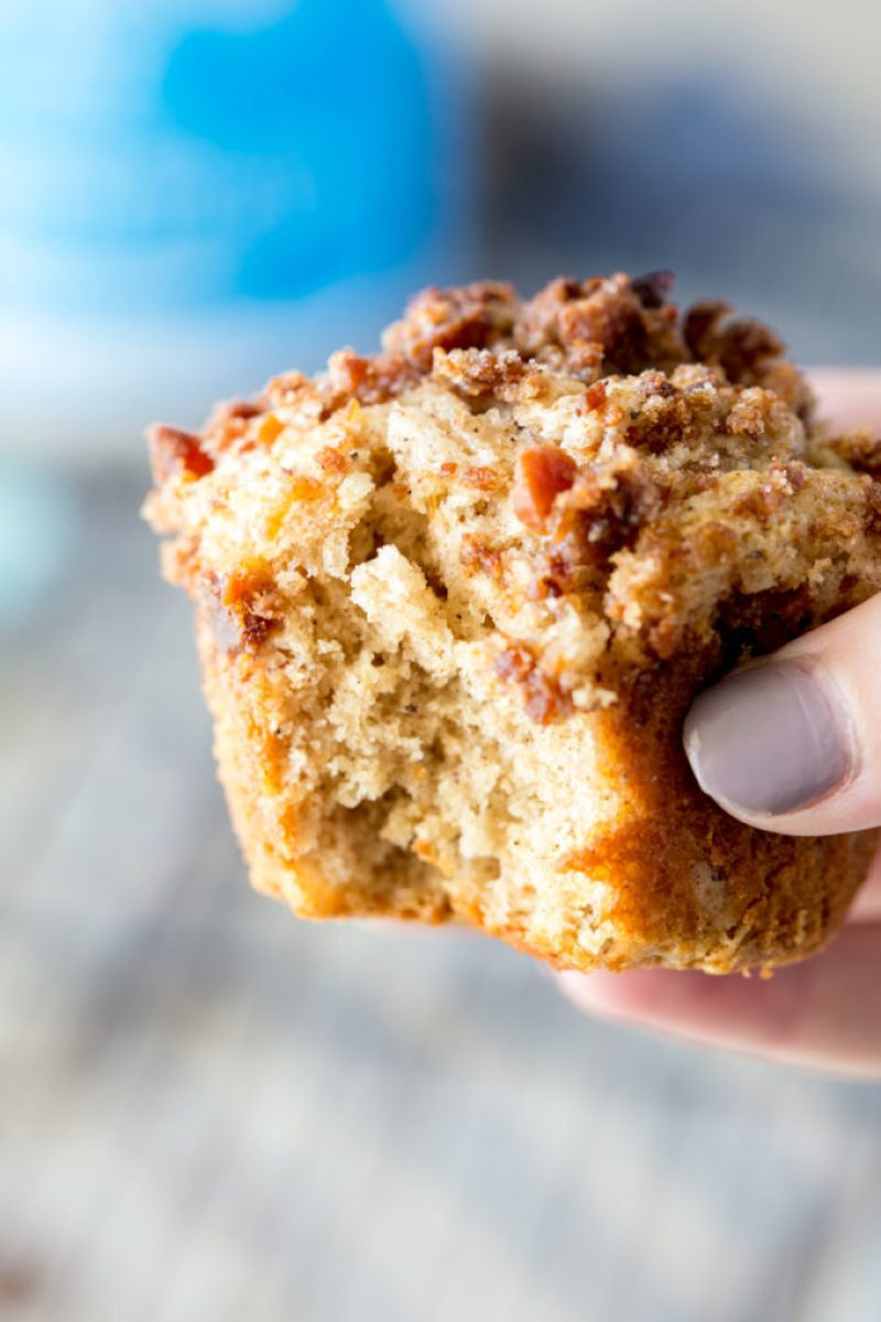 Bacon brown sugar streusel protein spice muffins