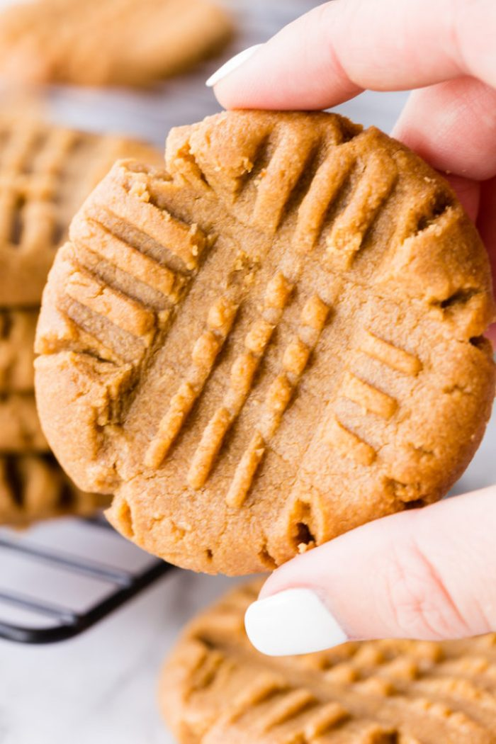 A soft and chewy peanut butter cookie made with only 3 ingredients.