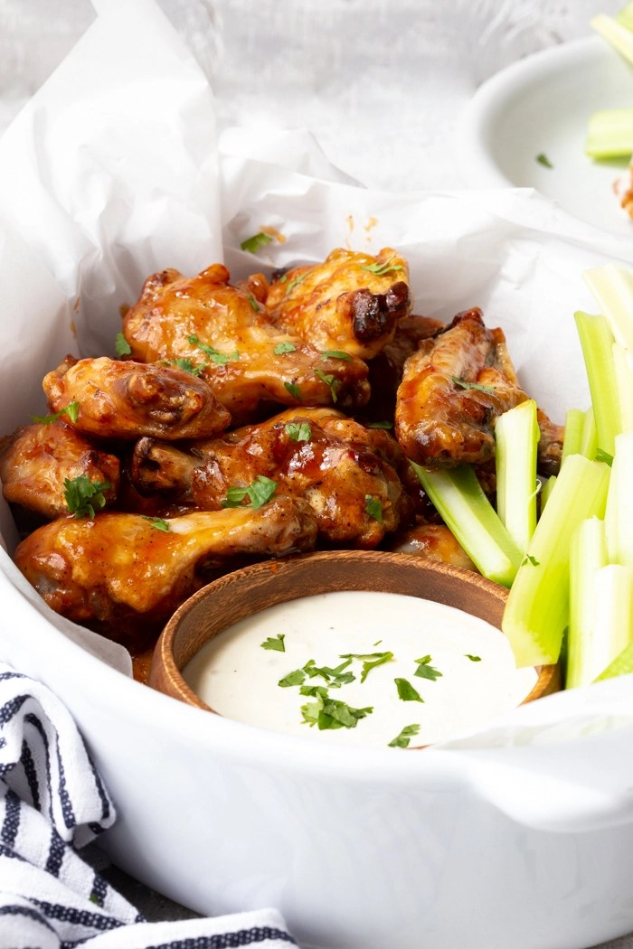 Air fryer chicken wings, cooked to crispy perfection