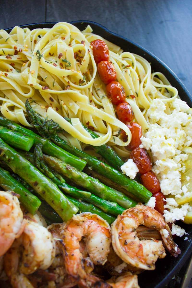 Asparagus Shrimp Pasta Dinner