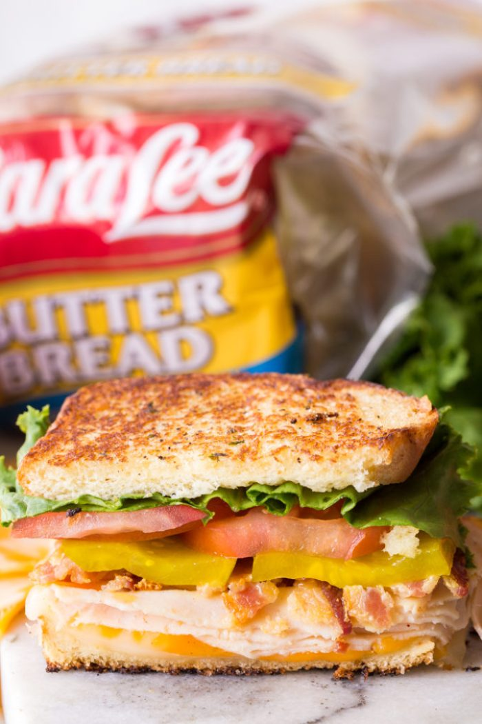 delicious Sara Lee bread made into a chicken club sandwich