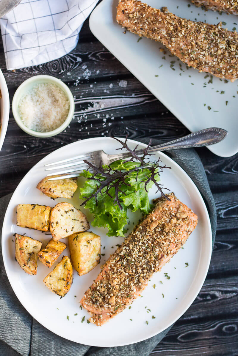 Dukkah Crusted Salmon Baked: Infused with nutty dukkah flavors, the Salmon is fancy enough to serve to any company, with no more than a few of your favorite sides.