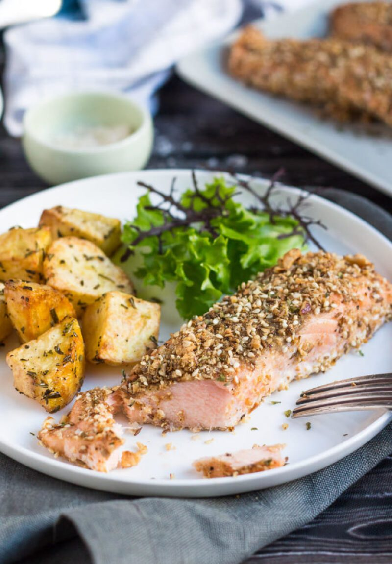 Baked Salmon Fillets: Infused with nutty dukkah flavors, the Salmon is fancy enough to serve to any company, with no more than a few of your favorite sides.
