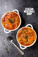 Italian Meatball Soup, a classic tomato based soup stuffed with savory meatballs, noodles, and veggies.