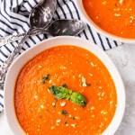 two bowls of feta tomato soup keto