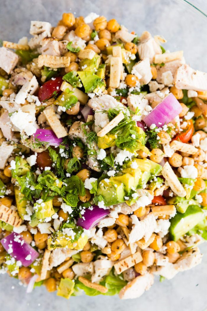 A greek chopped salad with all the fixings