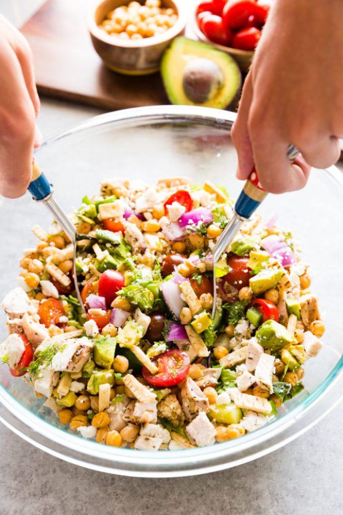A tasty Greek Chicken Chopped Salad